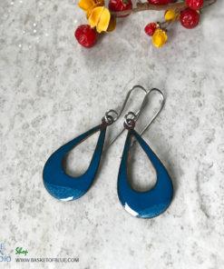 blue enamel open hoop earrings