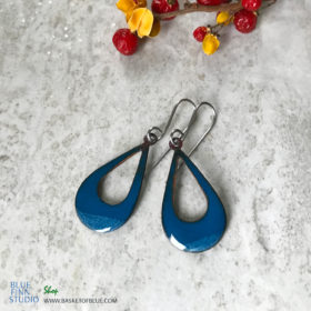 blue enamel open hoop earrings