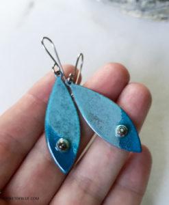 blue fish enamel earrings