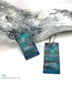 blue patina rectangle earrings