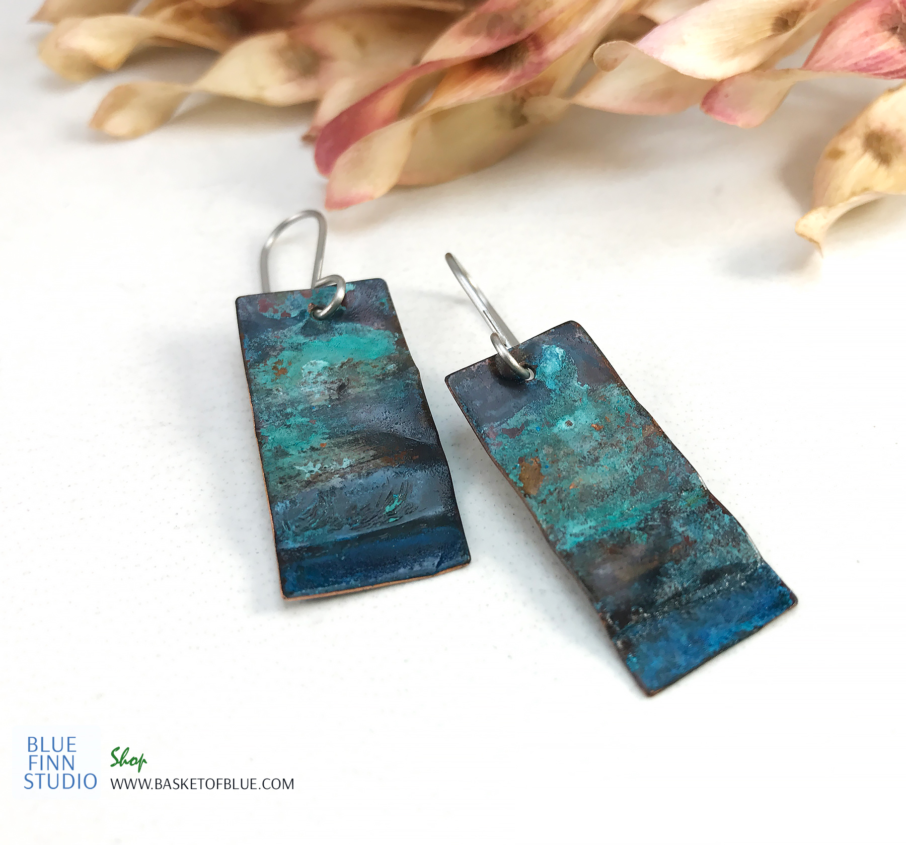 blue patina rectangle earrings