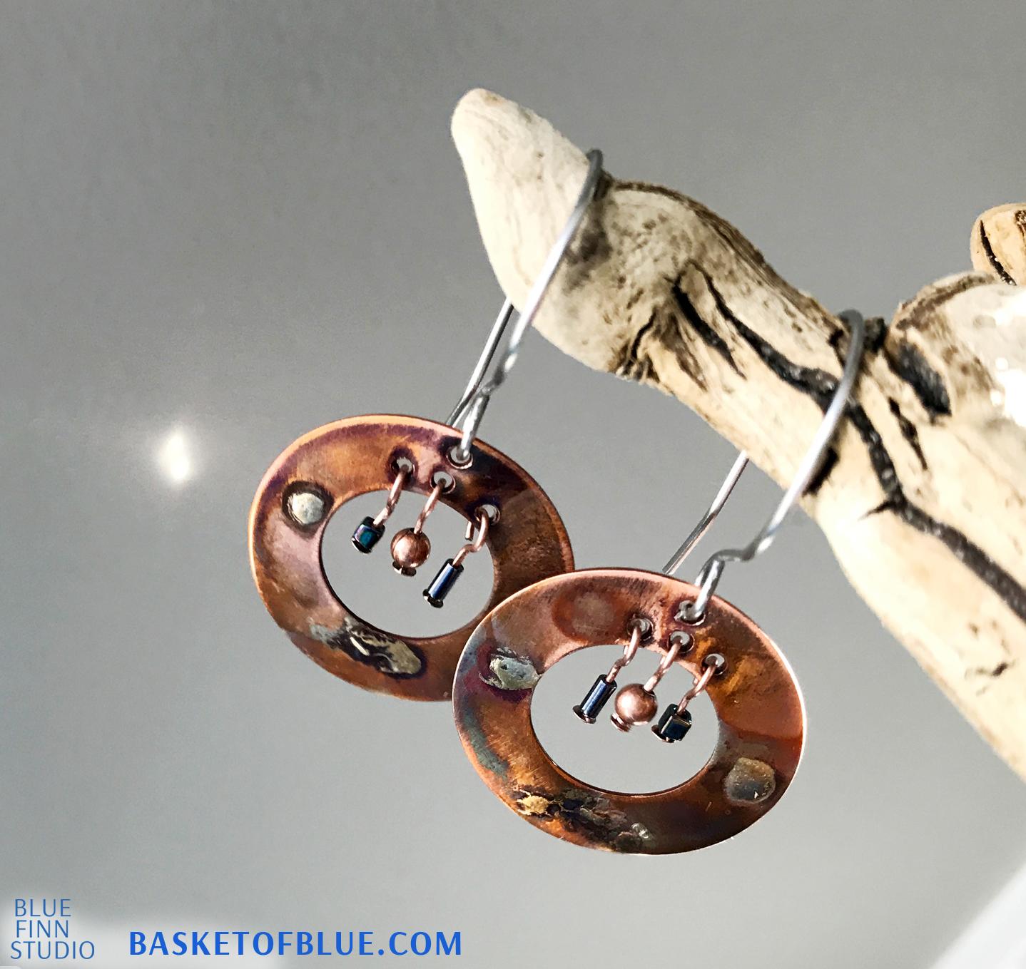 bd8f7c1aa Boho Hoop Earrings, Mixed Metal Tribal Hoop Dangles - Basket of Blue