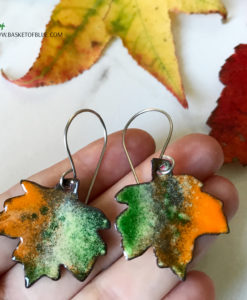 colorful enamel maple leaf earrings