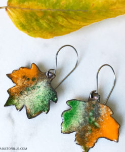 colorful enamel maple leaf earrings