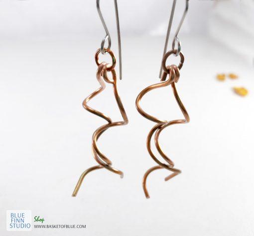 copper wire twist earrings