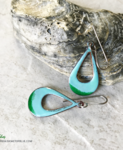 green enamel open teardrop earrings