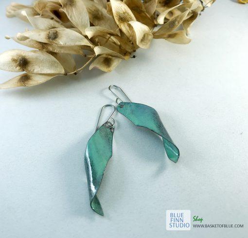 enameled copper seedpod earrings tree of heaven