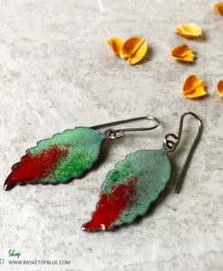 green and red leaf earrings
