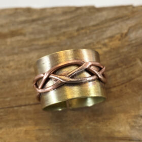 BRASS and copper wide wrap ring