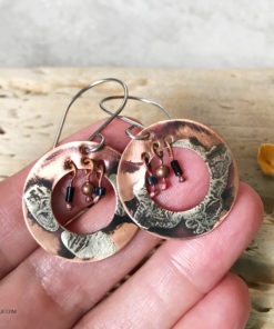 boho hoop mixed metal dangle earrings