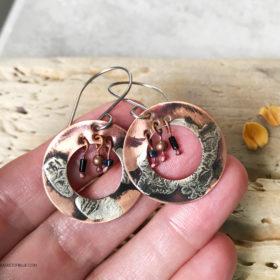 boho hoop mixed metal dangle earrings