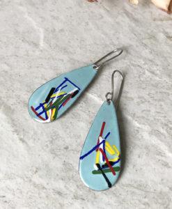 aqua blue enamel teardrop art earrings