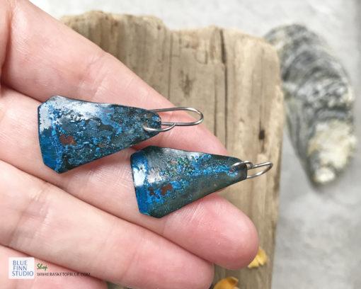 blue patina rustic copper earrings