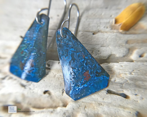 blue patina rustic copper earrings