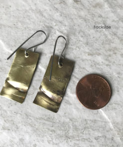 brass rectangle earrings