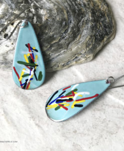 aqua blue color art enamel oval earrings