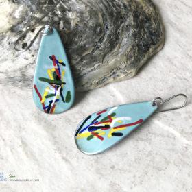 aqua blue color art enamel oval earrings