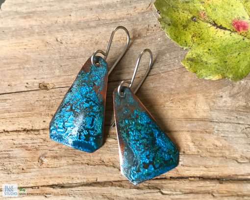 copper patina verdigris triangle earrings
