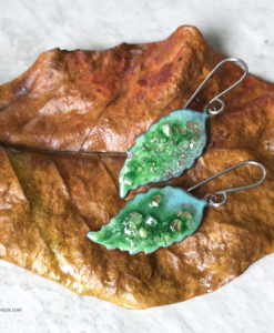 enamel green leaf earrings