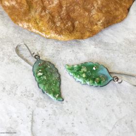 enamel green leaf earrings