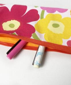Marimekko fabric zipper pouch poppy silkkikuikka cotton