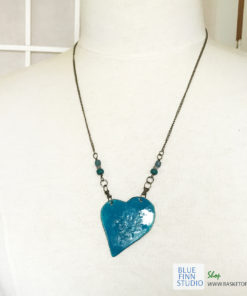 Blue enamel heart necklace