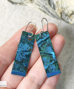 long rectangle copper blue patina earrings