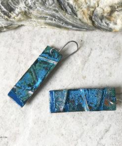 long rectangle copper blue patina earrings