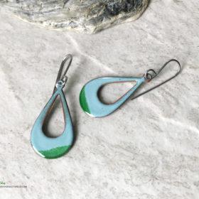 green enamel open teardrop earrings