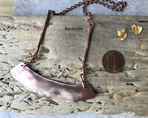 bronze bar necklace with sterling silver
