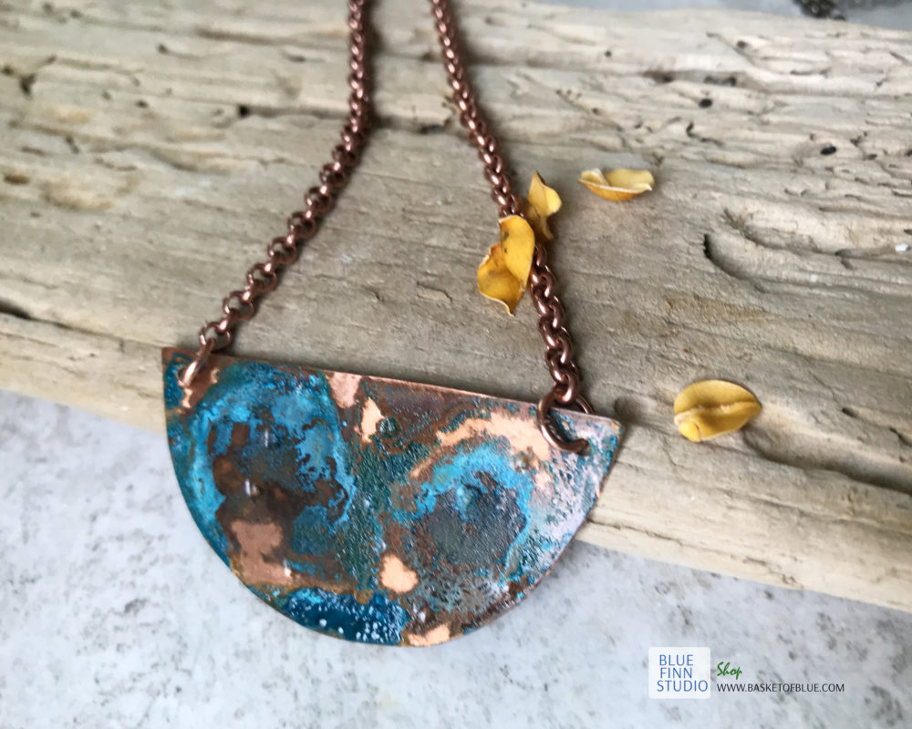 patina half circle pendant