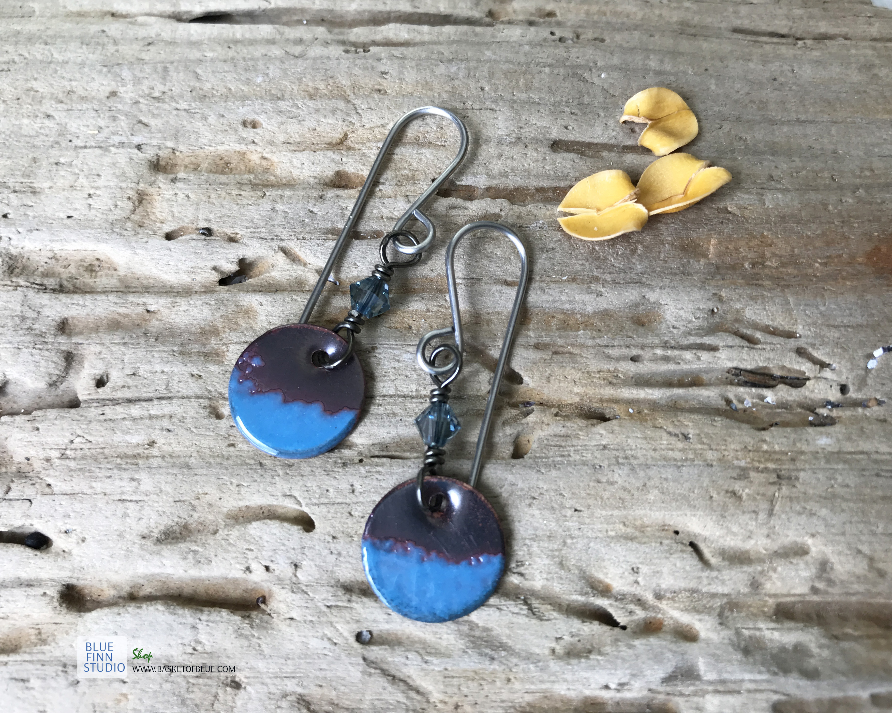 blue round dangle enameled copper earrings