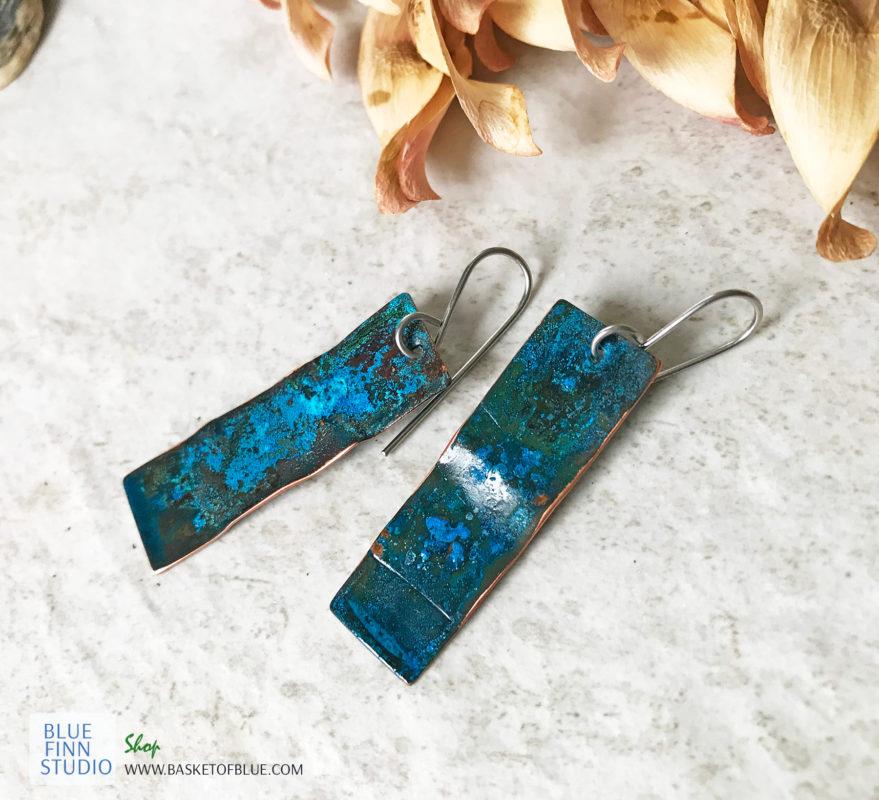blue copper patina long rectangle earrings