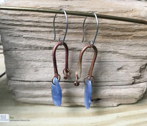 kyanite copper dangle earrings