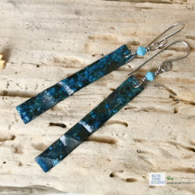 long copper verdigris earrings with swarovski turquoise