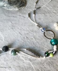 Long enamel bead dangle necklace