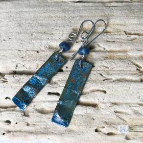 blue copper patina rectangle earrings