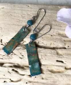 green patina earrings