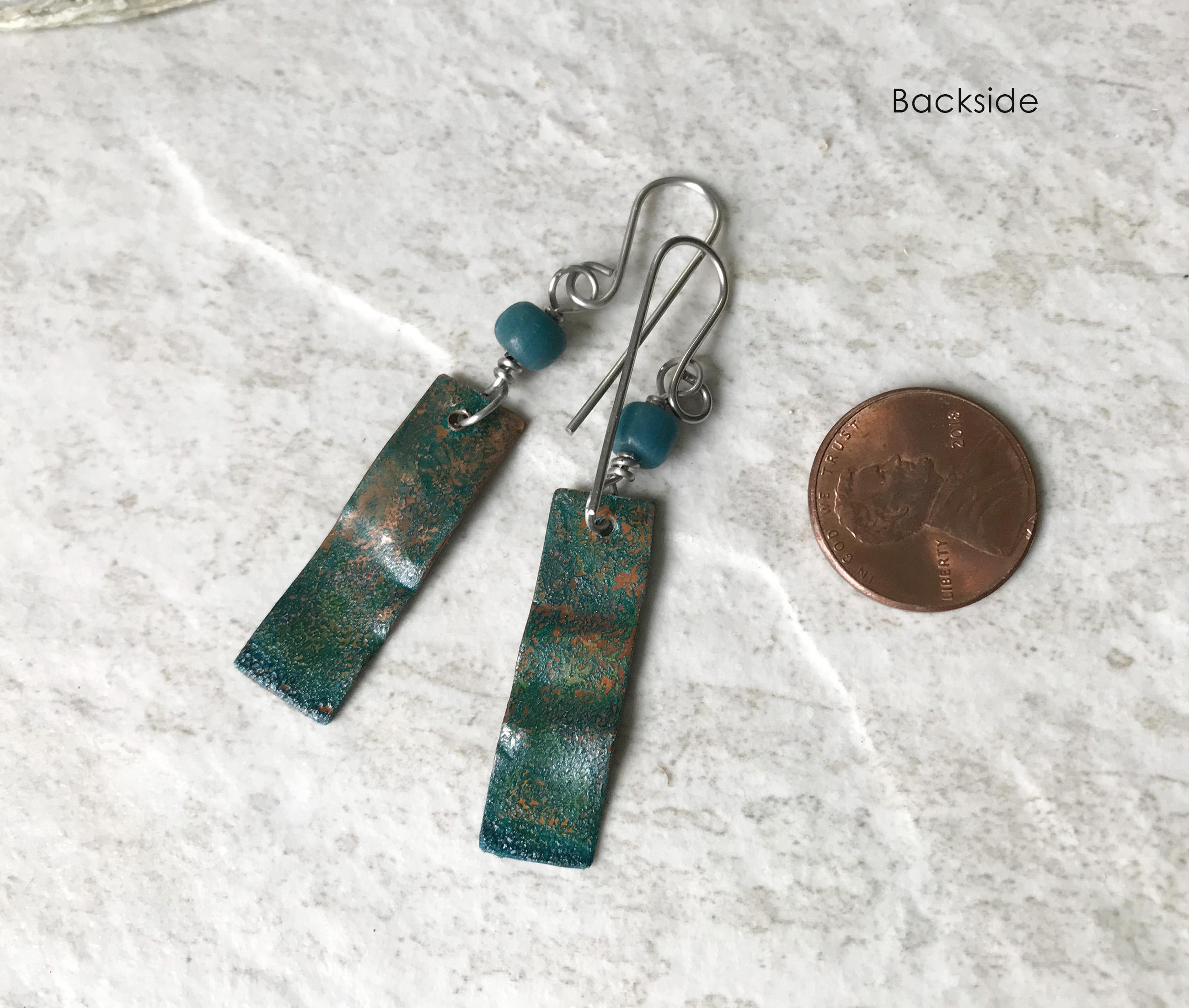 green patina earrings