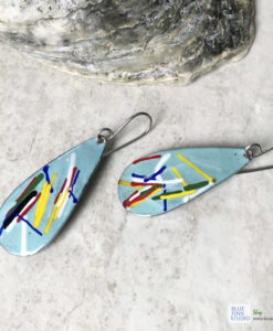 aqua blue color art enamel earrings