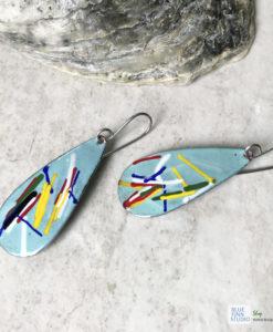 aqua blue color art enamel earrings