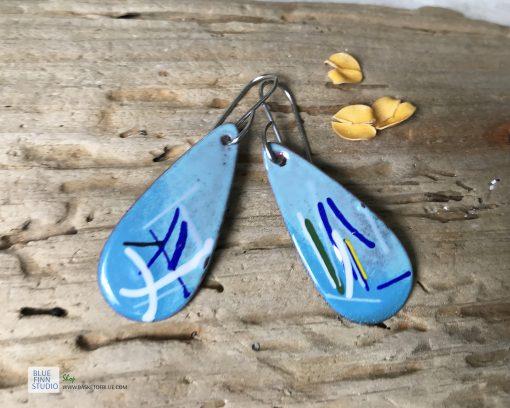 blue enamel oval teardrop art earrings