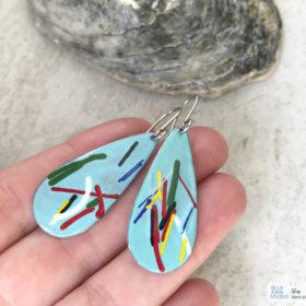art enamel oval earrings