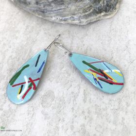 art enamel oval earrings aqua blue long oval