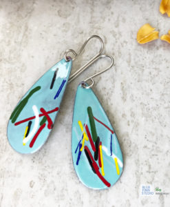 art enamel oval earrings