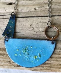 blue enamel moon pendant