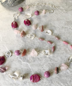 long pink bead necklace