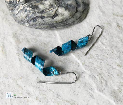 blue patina swirl earrings