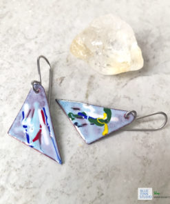 geometric painterly enamel art earrings