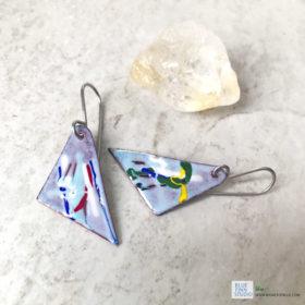 geometric painterly enamel art earrings
